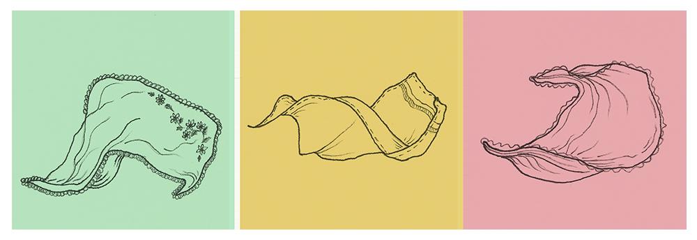 three delicate handkerchief illustrations