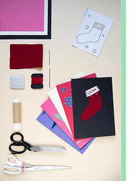 Last Minute Weihnachtskarten DIY Material mit Stoffresten Karte gestalten