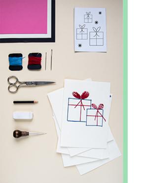 Last Minute Weihnachtskarten DIY Material um Karte mit Garn zu besticken