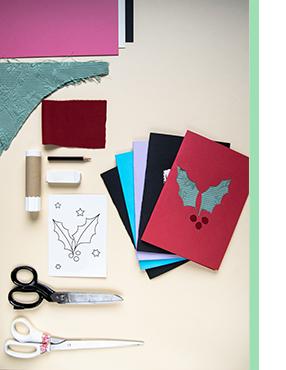 Last Minute Weihnachtskarten DIY Material um Passepartout Karte zu gestalten
