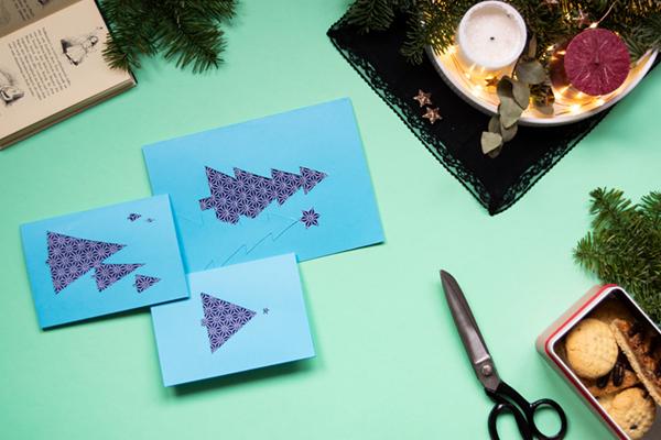 Last Minute Weihnachtskarten aus Stoffresten und Garn // DIY #3