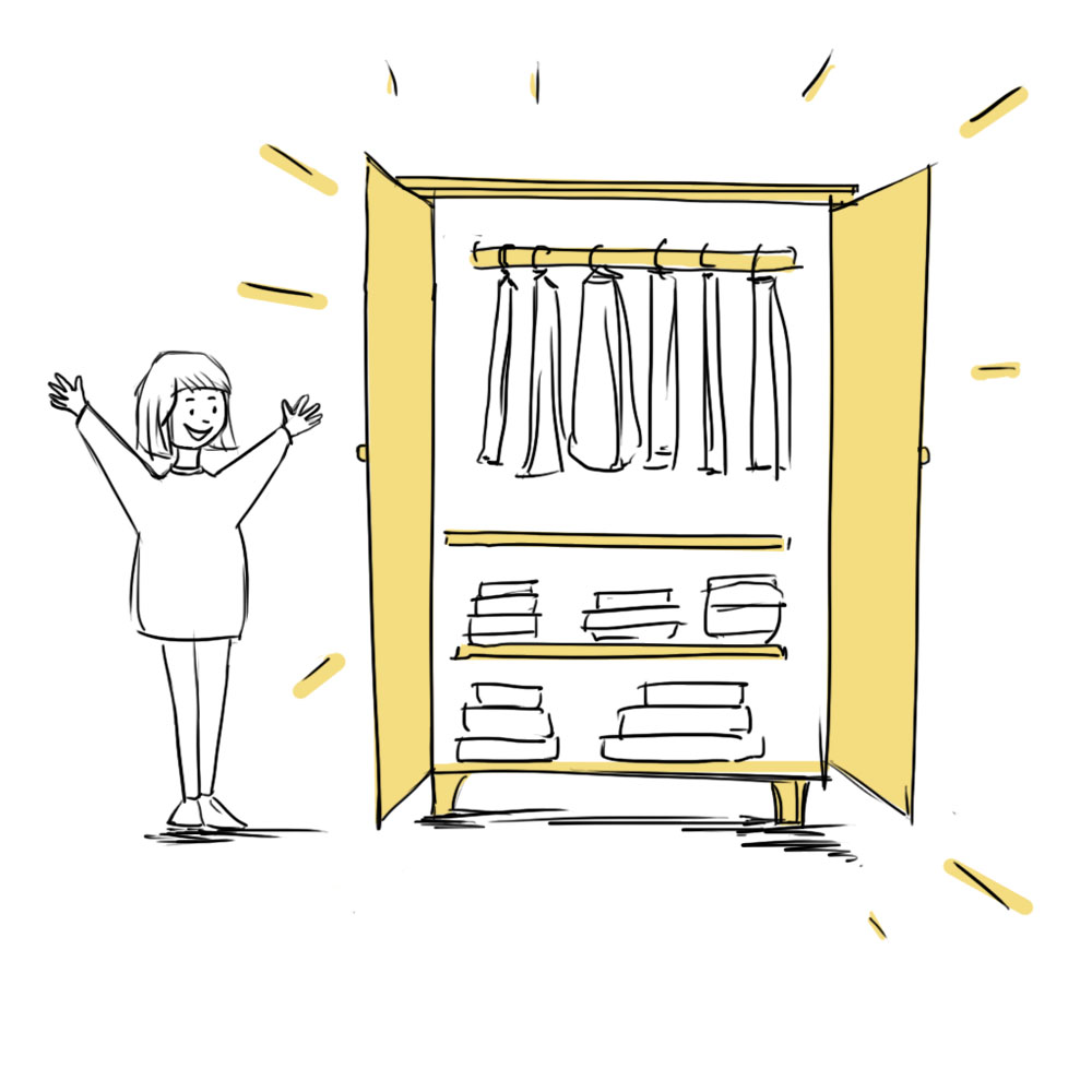 clean out closet tidying up wardrobe illustration
