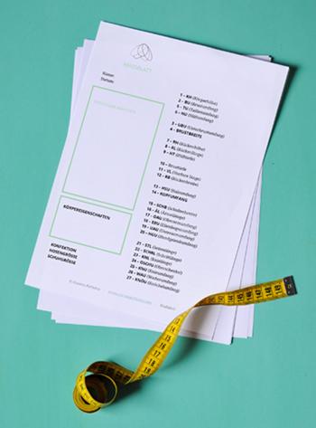Die ausgedruckte Maßliste zum Tutorial Maßnehmen