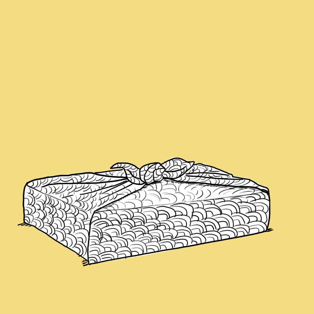 Stofftaschentuch als Geschenkverpackung