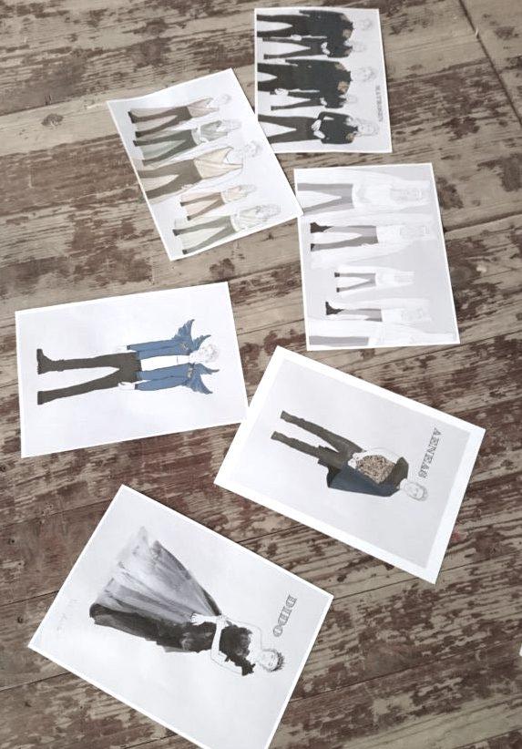 """Costume Design: Kostümbild am Theater Gezeichnete Figurinen für """"Dido und Aeneas"""" von Linda Hofmann"""